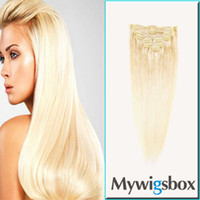 Brazilian Hair Blonde Straight Mywigsbox Products Straight Blond Color Hair Brazilian Virgin Hair Weave 125g, #613 Clip in Human Hair Extension 9pcs set Free Shipping