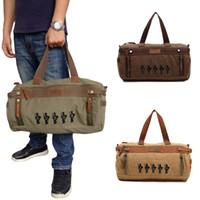 Wholesale Canvas Travelling Bag Top Quality Vintage Men Large Capacity Luggage Bag Unisex Satchel Shoulder Bag for weekend H11736
