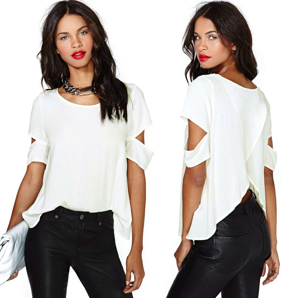 New Fashion Women T Shirt Chiffon Blouse Blusa Sexy Wrap Back ...