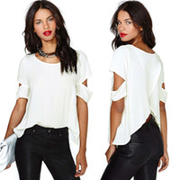 t back - New Fashion women t shirt Chiffon Blouse blusa Sexy Wrap Back Cutout tops for women Short Sleeves Crew Neck Casual Tops White G0623