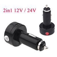 Wholesale 2in1 V V Digital Voltmeter V A Car Cigarette Lighter Usb Charger for iPhone Samsung Red Blue LED Display K1335