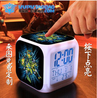 Wholesale HOT Teenage Mutant Ninja Turtles LED colors alarm clock Table Clocks thermometer night colorful glowing toys Night Colorful Glowing Clock