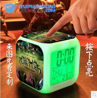 Wholesale Teenage Mutant Ninja Turtles LED colors alarm clock Table Clocks thermometer night colorful glowing toys