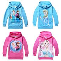 Wholesale Frozen Elsa Anna Long Sleeves Girls Hoodies Kids Outwear Cotton Cartoon Children Clothes Hood Sweater Sleeved T shirt Children s Hoodie