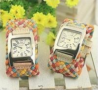 Wholesale Rope Braided Leather Watch women ladies fashion Cord bracelet dress quartz wrist watch