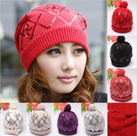 Wholesale 2014 Fall Lady Women Hat Beanie Young Girl Ladies Hats Cap Autumn Winter With Sequins Colors Choose Black White Red Gray Beige Purple