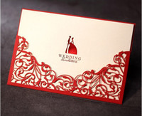Wedding Programs Folded Red Wholesale 50pcs lot Free Shipping Red Flower Cut-out Wedding Invitation Card with Envelopes,Blank inside paper wedding party decoration