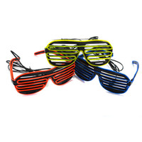 Wholesale Shutter EL Wire Glasses USA High Quality Mode Battery Glow Raver Costume Light Up LED