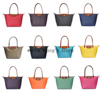 Folding colorful handbags - Long Handle Tote Shopping Bag Nylon WaterProof Colorful Handbag