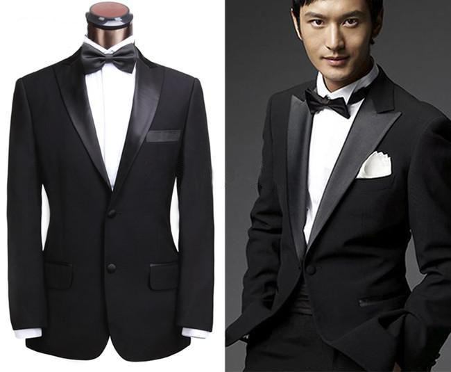 2015 Classic Custom Made Slim Fit Two Buttons Black Groom Tuxedos ...