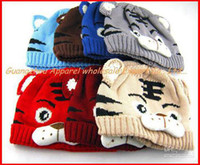 Unisex Summer Newborn Hat Children Cotton Tiger Hat Cartoon Baby Crochet Beanie Infant Knitted Cap free Shipping 10pcs lot Melee