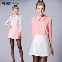 Wholesale New autumn fashion elegant silk shirt set three quarter sleeve lace top embroidered skirt women office dress suit