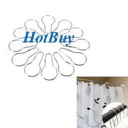 New Shower Curtain Rings Hooks Chrome Bath Bathroom Clip Easy Glide Hooks #3353