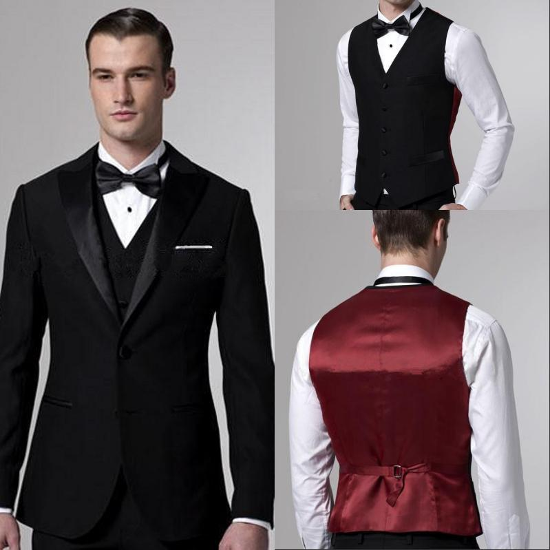 Custom Made Wedding Suit For Men Black Groom Tuxedos Slim Fit Two ...