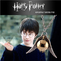 Wholesale Hot new Harry Potter Hogwarts Quidditch Silver Wings Snitch Gold Necklace pendant golden snitch Necklace golden