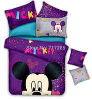Wholesale 2014 New cartoon mickey mouse children cotton bedding sets queen full double quilt cover bed linen for kids bedclothes
