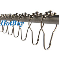 Wholesale Brushed Nickel Bathroom Rollerball Shower Curtain Rings Hooks with Roller Balls x4cm