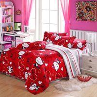 100% Cotton Woven Children Red Hello Kitty Bedding Set Bedlinen Egyptian Cotton Full Queen Size Kids Girl Woven Bedspreads Duvet Quilt Cover Comforter Set