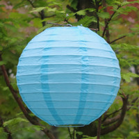 Blue other other (10pcs Lot) 8''(20cm)Free Shipping Chinese Paper Lantern Round Light Blue for party decoration Wedding Lantern Decorations