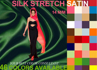 Wholesale Silk stretch satin m m Width cm Mulberry silk fabric Lycra Stretched fabrics Colors in stock