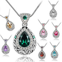 Celtic acrylic teardrops - 138 teardrop guardian constellation vintage crystal rhinestone pendant necklaces valentine s day gift free water drop promotion