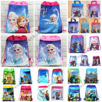 Wholesale 6 style Children s frozen Anna Elsa Kristoff Olaf Prince Hans non woven string backpack for kids children s school cartoon bag A268