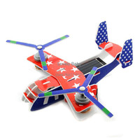 Wholesale Kids Toys Solar Powered Educational DIY Toy Assemble Robot Plane Toy Children Kid Gift Red Transport Aircraft