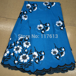 Wholesale yards a Item No LF01 Blue Cotton embroidery lace cloth with stones African swiss voile lace fabric