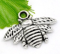 Wholesale Silver Tone Bee Charm Pendants x16mm B11362