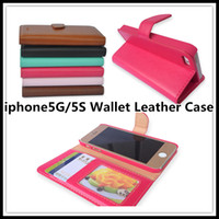 For Apple iPhone PC+TPU Black High quality PU Wallet Leather Case with Photo Frame Card Holder For apple iPhone 5 iphone 5S Smart Stand Bags Magnetic Flip Phone Cover
