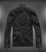 bead trend - Autumn and winter male short design leather clothing stand collar trend skull punk leather jacket outerwear water washed leather