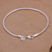 Wholesale sterling silver jewelry bracelet mm inch snake chain Fine fashion bracelet top quality and retail Hot