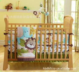 Wholesale Printing embroidery African forest animals prints cotton baby bedding set includes Quilt Bumper Bed Skirt Mattress Cover