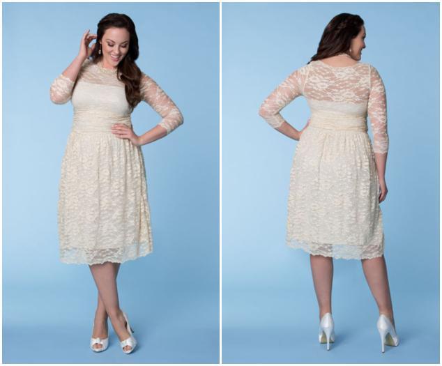 2015 Ivory Short Plus Size Lace Wedding Dresses Sheer 3/4 Long ...
