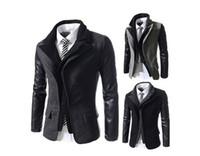 Wholesale False two man coat lapel jacket zipper cloth self cultivation