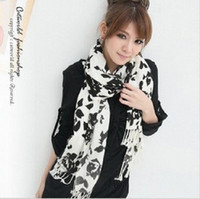 Wholesale 2013 new qiu dong Korea rose print in black and white shawl fringed scarf super soft cashmere shawl female