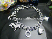 Wholesale Wholsale Sterling Silver fashion jewelry HORSE FIVE CHARMS nice bracelet bangle Penoyjewelry B18