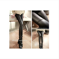 Faux Leather Mid Casual 2014 HOT sale Spring Autumn Winter Fashion Personality Stitching Sexy Black Leather Plus Size XL L Women Leggings Pants Popular Tights