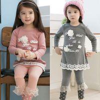 Cheap Girl 2014 new arrival girl set Best Spring / Autumn Long girls leggings and dress