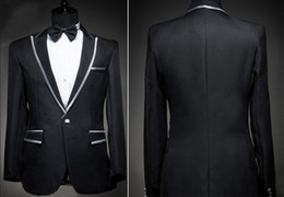Wholesale The groom dress black suit silver hem the latest design suit for the wedding Can be customized size