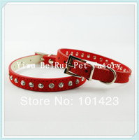berry puppy - Berry Suede Leather Rhinestone Cat Pet Puppy Collar