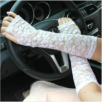 Wholesale Ms summer sun long arm sleeve long paragraph full lace drove UV thin section half finger gloves