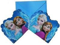 Wholesale Frozen movie Elsa Anna princess girls kids happy birthday party kits invites supplies frozen party invitations cards frozenc473