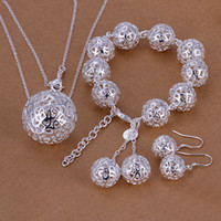 Wholesale Factory price top quality sterling silver jewery sets necklace bracelet earring solid ball pendant Fashion TS110