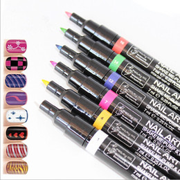 Wholesale Colorful Lady Nail Art Pen Polish Painting Design Drawing Tool Colours available Fast dryig Lasting Lustre