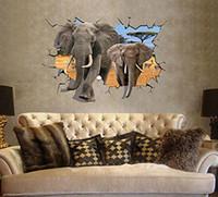 art elephants - 3D Elephants Catoon Wall Decals Living Room Bedroom Removable Wall Stickers Murals
