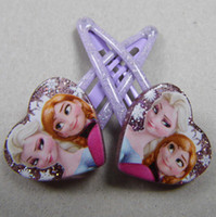 Wholesale Frozen Anna Elsa Girl Hair Clipper Heart Shaped Crystal twinkle Headwear Female Hair Accessory Wafer Side knotted Clipper Hairpin