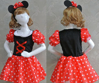 Girl Cartoon Star Cloth Wholesale-2014 New cosplay Minnie Mouse halloween costume for kids Girl Party princess Show best fabric