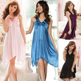 Wholesale Women Sexy Nightgown Lingerie Rose Print V Neck Pajamas Sleepwear Knee Length Strap Nightdress