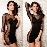 lingerie elastic - 2014 New Women Sexy Black Net Babydoll Lingerie Sleeve Elastic Lace Nightdress SV000631